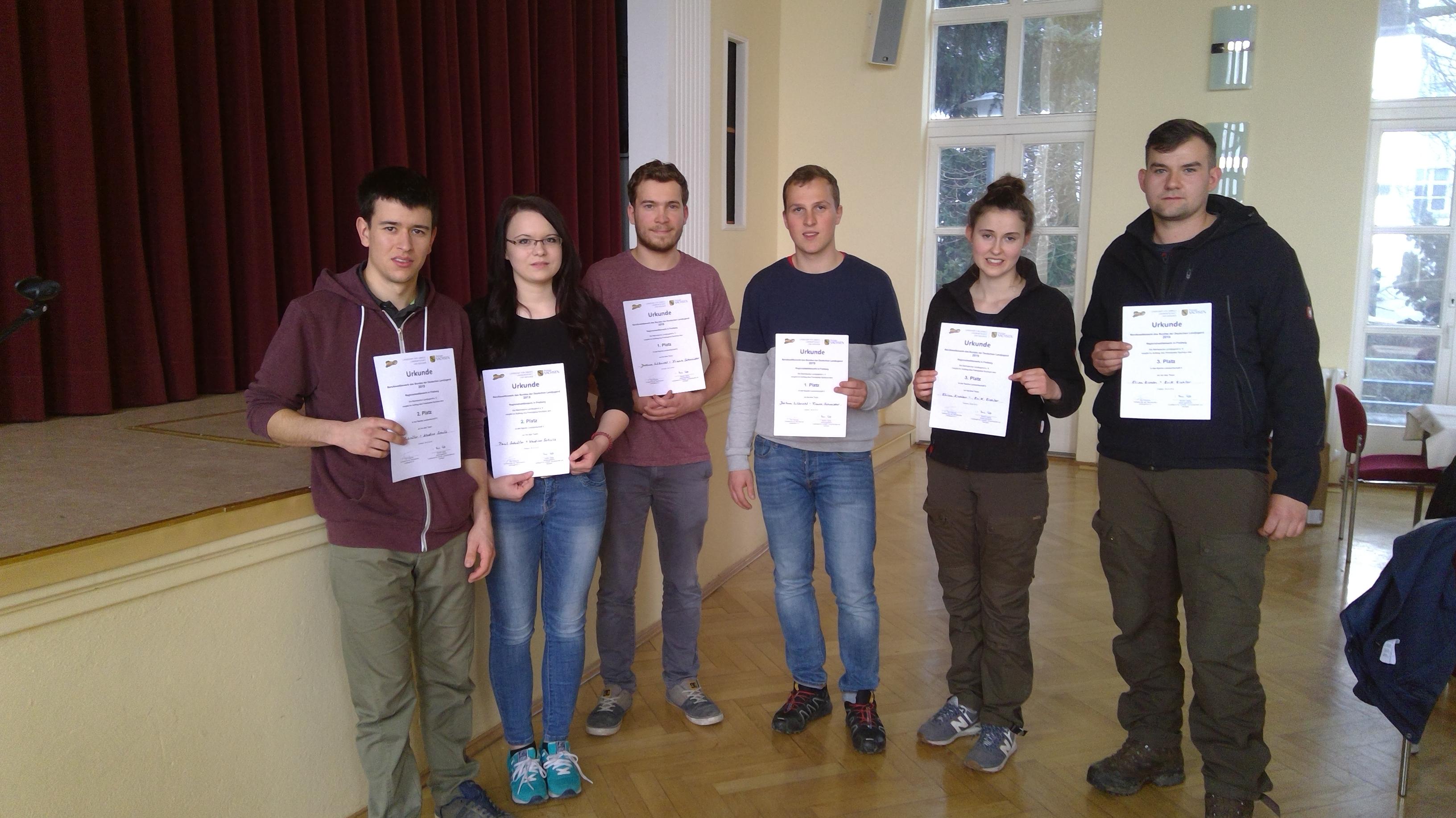 Paul Schröter, Nadine Schulz, Franz Schneider, Joshua Ulbricht, Elisa und Erik Eichler (v. links)