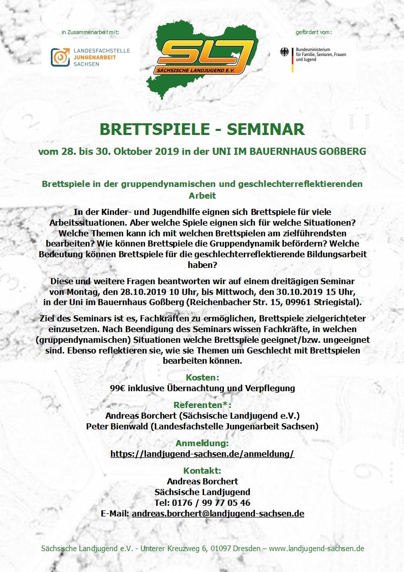 BRETTSPIELE - SEMINAR 2019